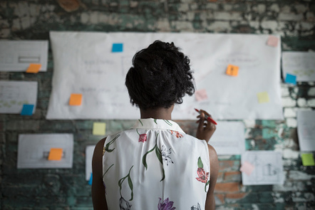 Woman stood facing wall full of ideas written on paper and stuck to wall