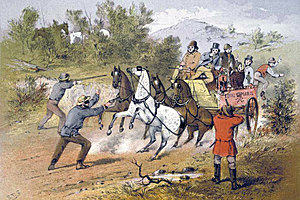 Bushrangers 'holding up' a stagecoach