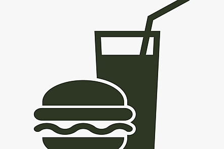 An icon of a burger and soft drink.