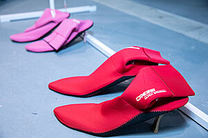 Two pairs of high heel shoes made from recycled neoprene