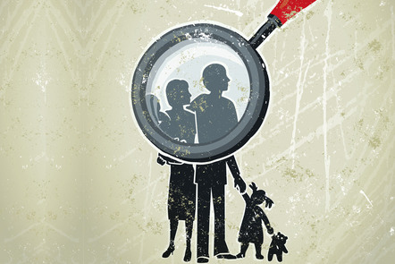 A family under a microscope. Illustration.