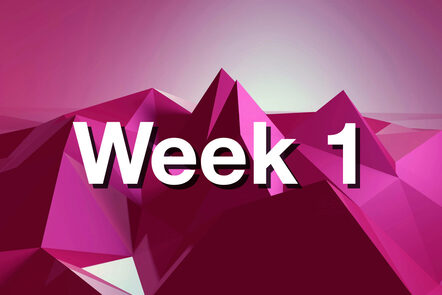 """Within pink mountain with """"week 1"""" written on it."""