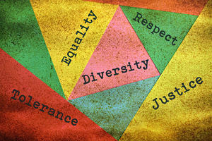 abstract image featuring phrases including 'equality', 'diversity', 'respect', 'tolerance' and 'justice'