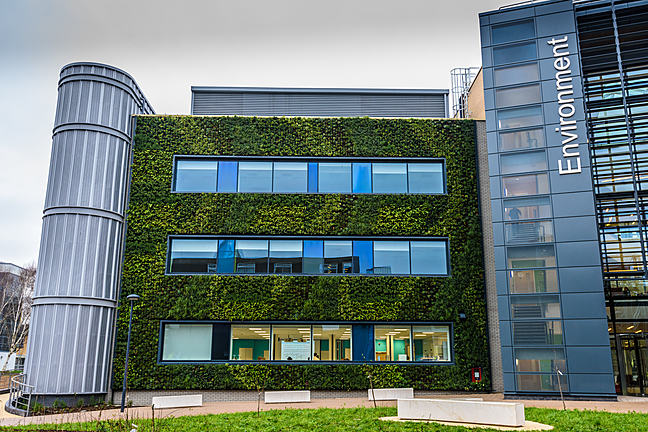 View of the green wall - part of the Department of Environment & Geography at the University of York