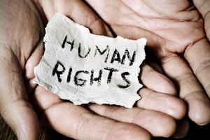 "The inscription ""human rights"" written on a little piece of paper held between two hands"