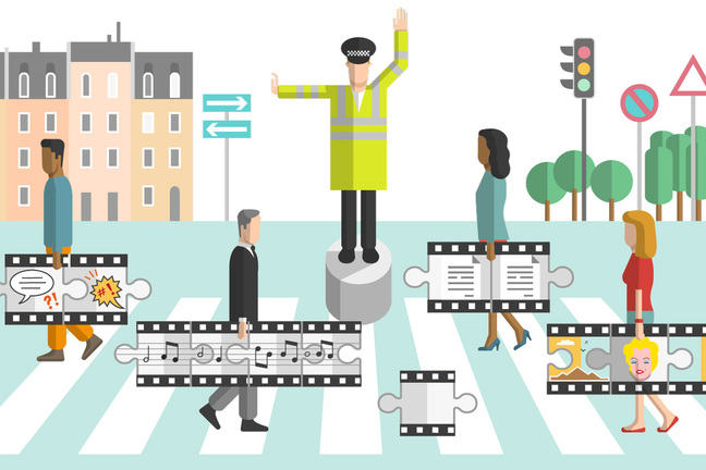 Policeman directing people carrying music, film, images, and written content, across a zebra crossing