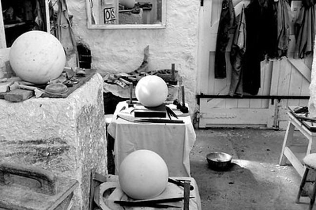 Black and white photograph of Hepworth's studio in St. Ives