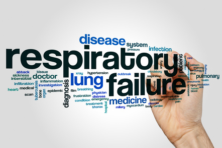 A word map with a persons hand in the background. The words in the word map include 'respiratory failure, disease, lunh, medicine, system and infection.
