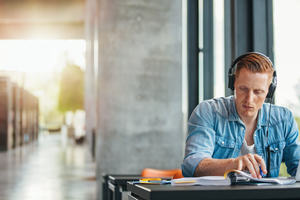 Student wearing headphones