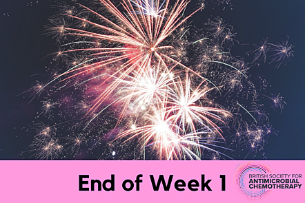 Fireworks with End of Week 1 text overlap