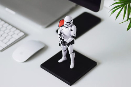 Storm trooper by computer.