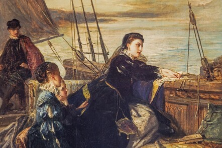 Detail of painting by Robert Herdman entitled Mary Queen of Scots farewell to France