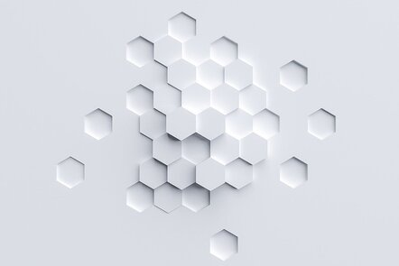 Series of interlinked hexagons on a white background