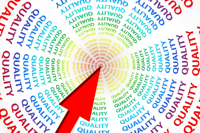 "A spiral of ""quality"" words pointing to a central focus"