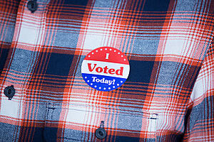 'I voted' badge on a shirt in close-up