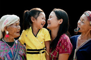 Multi-generational family of asian women