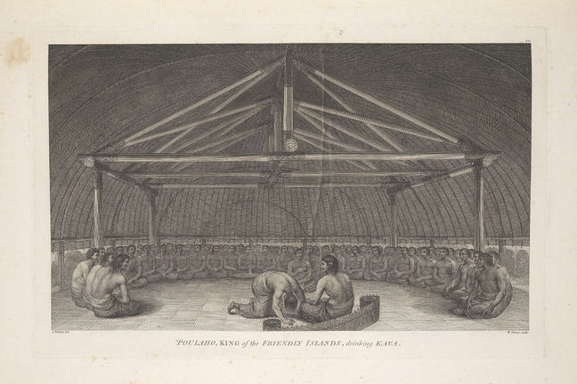 Engraving. Men sit in circle with two in centre, one with the dish distributing the kava, while another one sitting nearer to Paulaho in the middle of the circle, could be a servant, holding a bowl in his hand. They sit beneath a wooden framed structure.