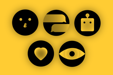 Icons of a face, chat bubbles, a bot, a heart, and an eye on a yellow background