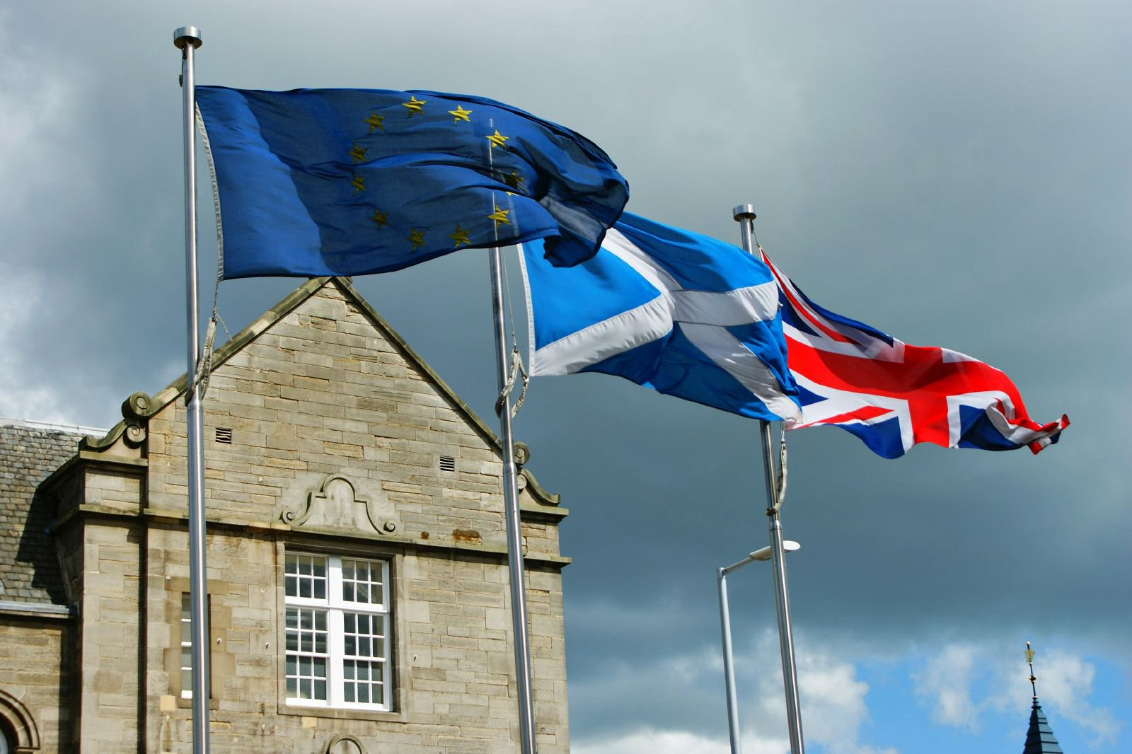 EU, UK and Scottish Flags Outside the Scottish Parliament in Holyrood, Edinburgh