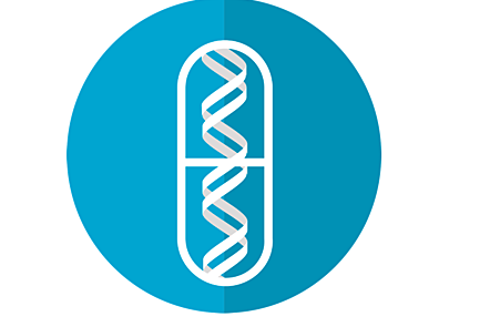 A vector image of a blue circle with a white DNA helix in a drug capsule.