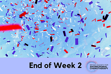 """Confetti with """"End of Week 2"""" text overlap"""