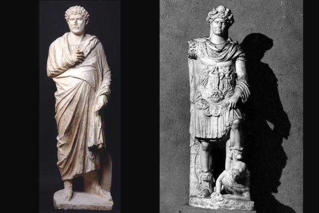 Hadrian offering a sprig of laurel to Apollo (left) and image of Hadrian standing over an enemy (right)