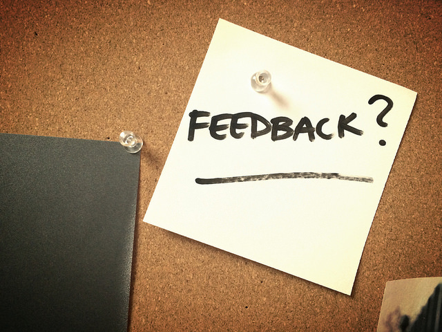 Post it note with the word Feedback?