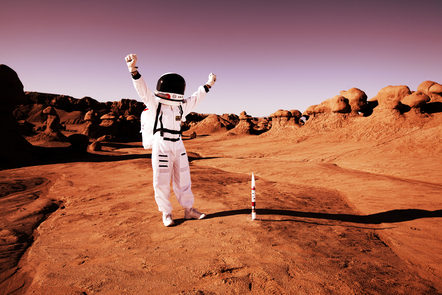 Photo depicting astronaut jumping for joy