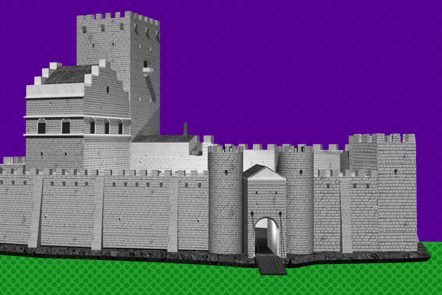 Grey castle made of stone with an open gate – on green grass, before a purple sky