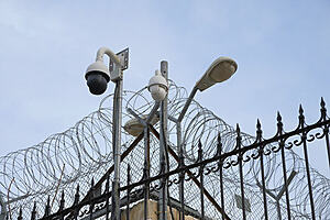 border with security cameras