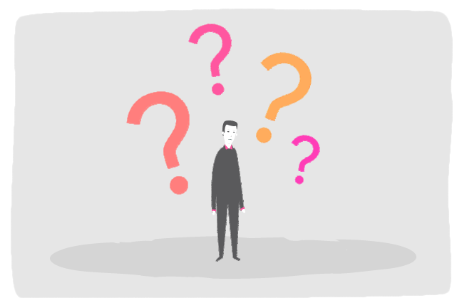 Illustration of an individual with question marks around him