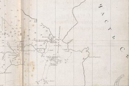 Detail from Vitus Baring's map showing West Coast of North America and East Cost of Russia