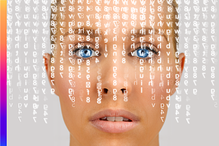 Photographic image displaying concept of facial recognition