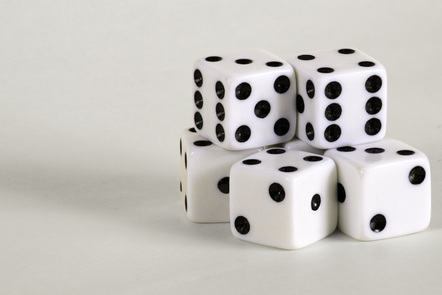 A small pile of dice on a white background.