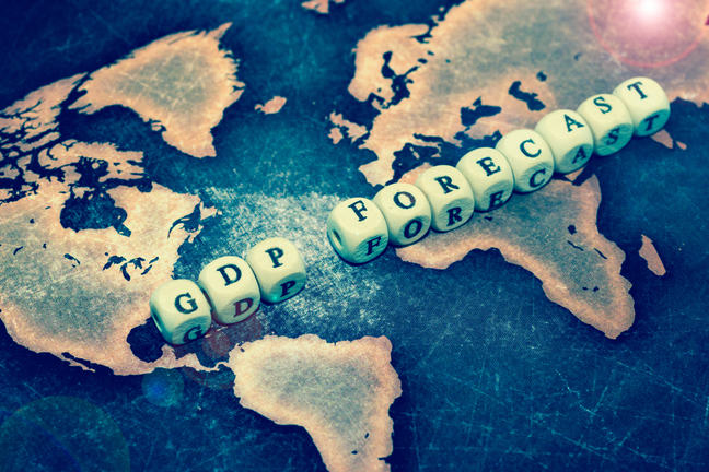 """The words """"GDP Forecast"""" are written across a world map."""