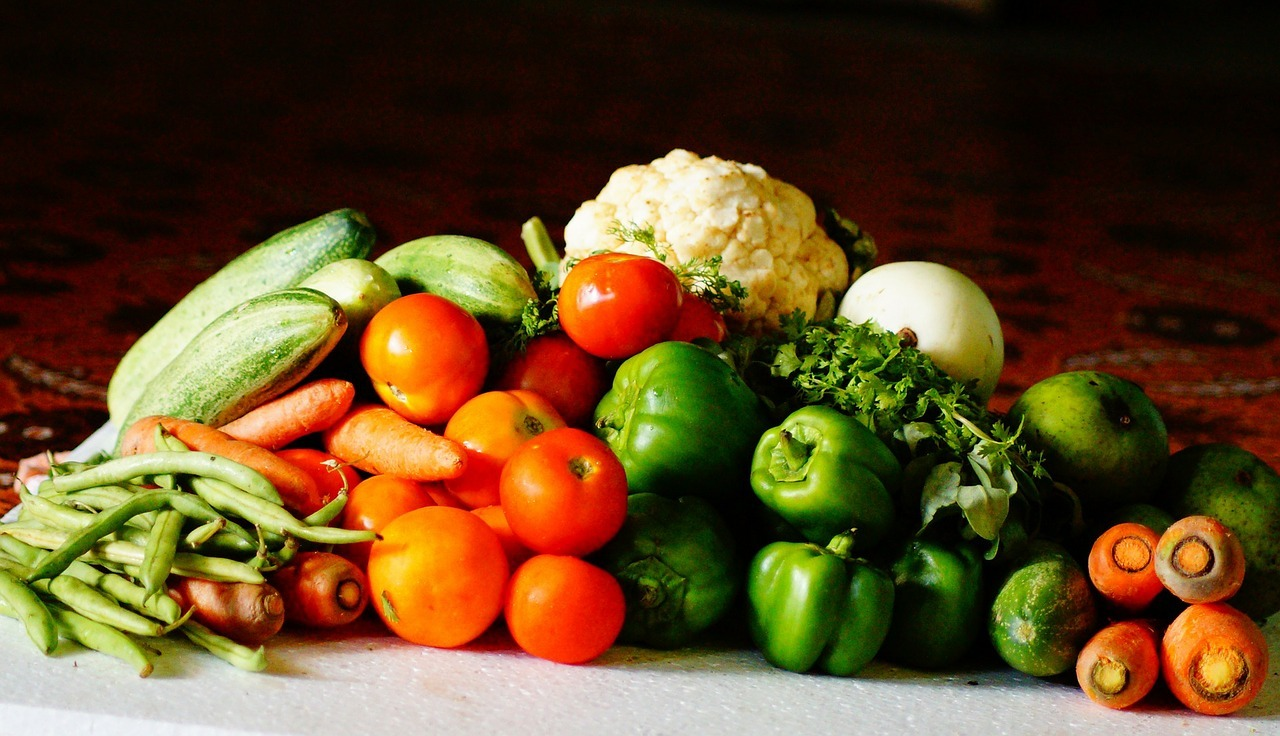 Fruit and vegetables sitting on a table