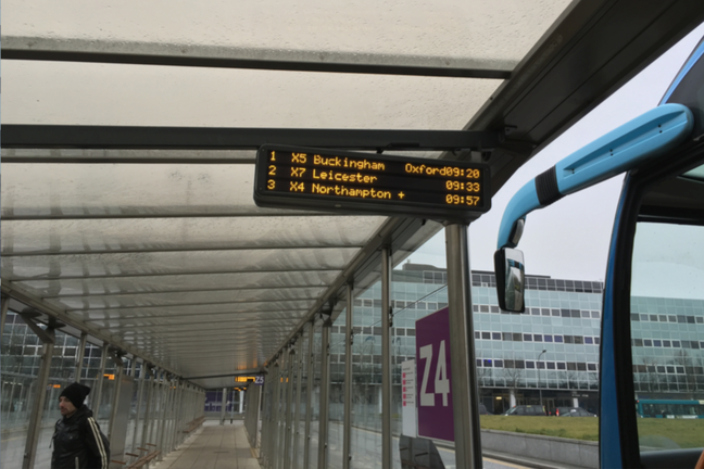 Electronic bus information board at Milton Keynes railway station