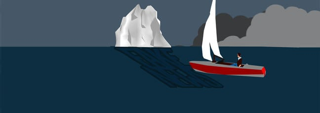 Graphical image of sailing boat in the shadow of a large iceberg