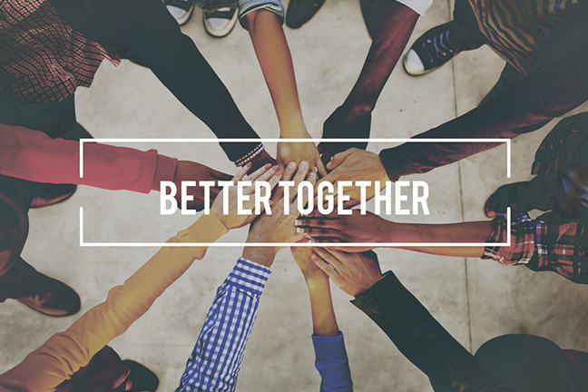 "Many hands together with the words ""Better Together"" overlaying them"
