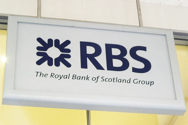 This is a photo of a sign for The Royal Bank of Scotland Group.