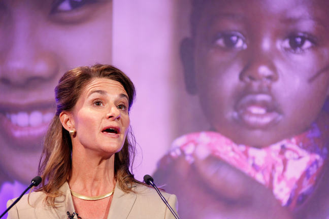 Image of Melinda Gates speaking at the London Summit on Family Planning