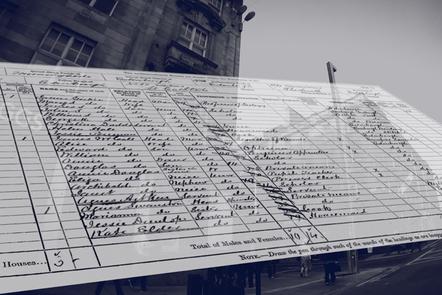 old census document superimposed over city scene