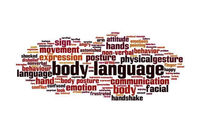 "Word cloud of dozens of words. The biggest are ""body"" and ""language""."
