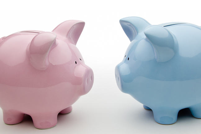 Two Piggy Banks Facing Each Other - One Pink (on the Left) and One Blue (on the Right)