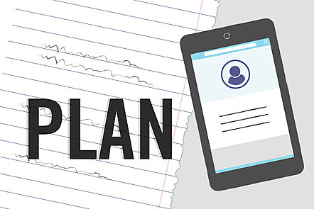 The word 'plan' in bold letters over an illustration of a notepad and tablet