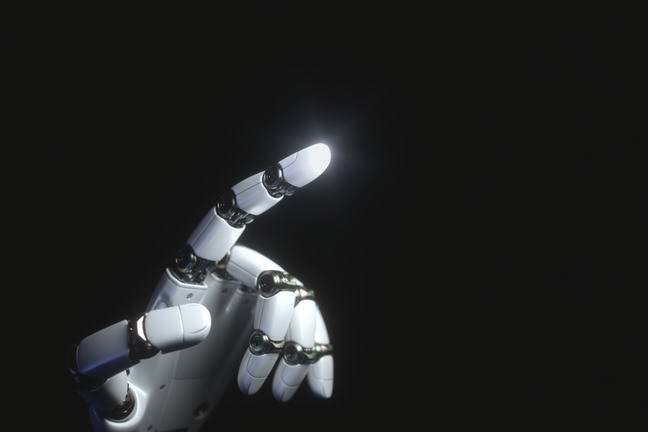 Black background with white robot hand pointing with a light at the end of pointing finger