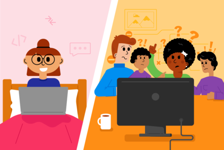 In the image on the left, a learner is happily working on their own laptop in their bedroom. In the image on the right, an entire family is trying to access a computer on a table, all looking uncertain and with question marks around them.