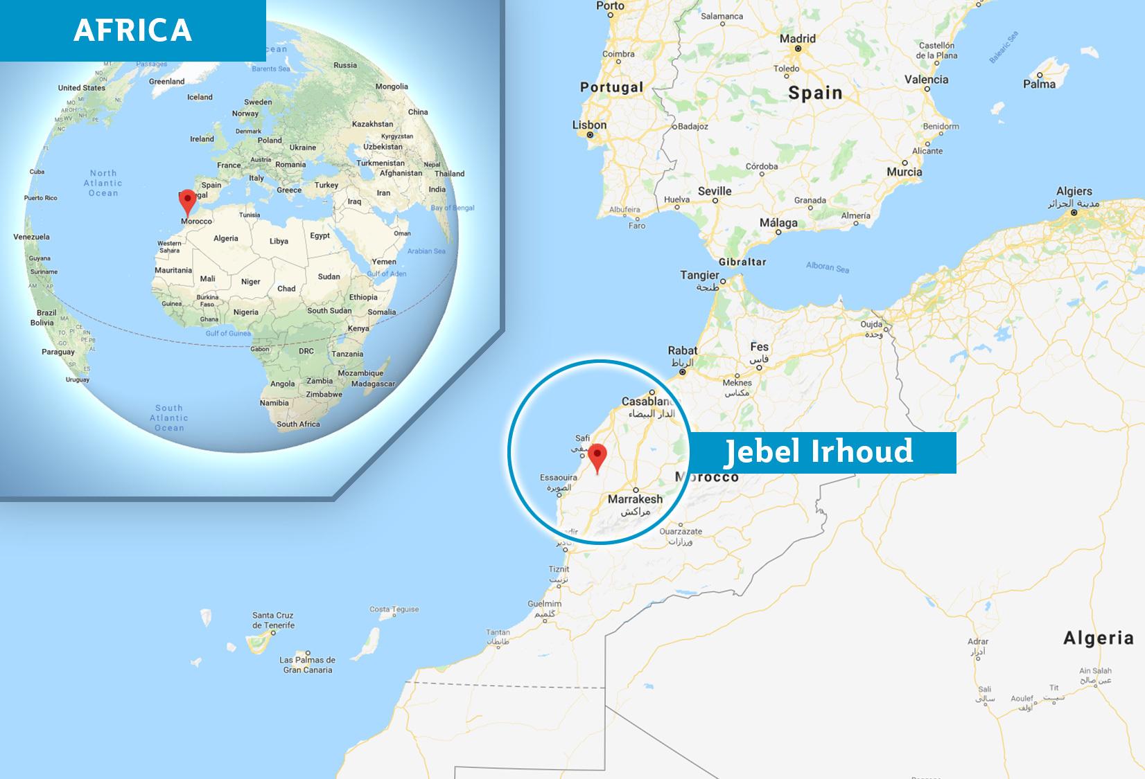 Map of Jebel Irhoud