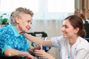 care staff with resident