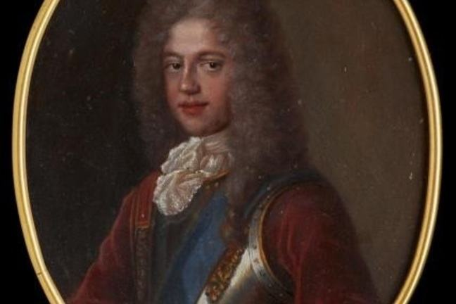 oil miniature on copper of Prince James Francis Edward Stewart, wearing brown wig, red velvet tunic, blue sash and armour breastplate.